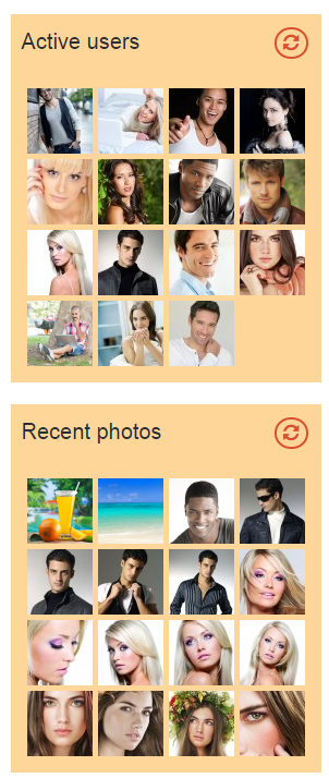 Homepage users & photos blocks