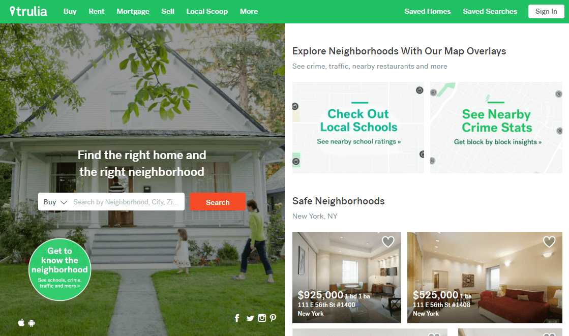 Trulia-type design